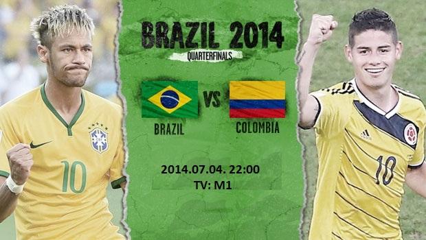 Brazília - Kolumbia foci vb negyeddöntő 2014.07.04. 22:00 TV: M1